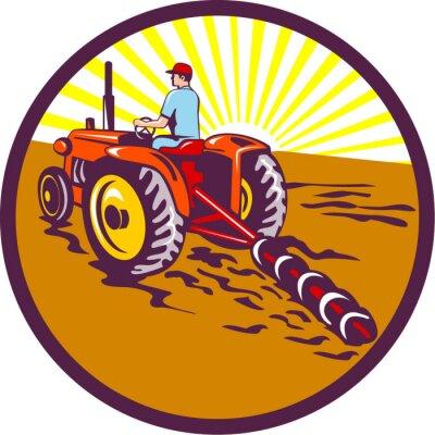 Plakát Farmer Na traktoru Kruh Retro