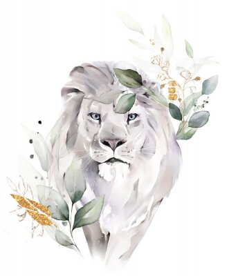 Plakát fashion watercolor illustration. Drawing - lion with tree leaves. Botanic and animal print isolated on white background