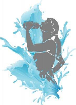Plakát Female Drinking Fresh Water