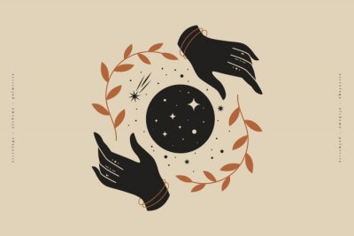 Plakát Female hands hold branches around the shimmering moon. Magic vector illustration in trendy minimal style. Mystical symbols for spiritual practices, ethnic magic, and astrological rites.