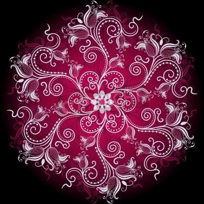 Plakát Fialová, bílá a černá kulatý květinový rám s vinobraní květiny