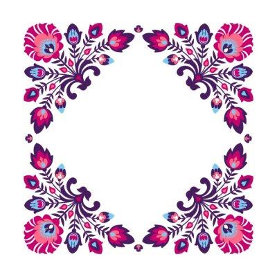 Plakát Fialová folk floral frame