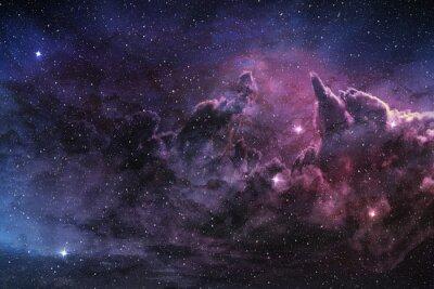 Plakát fialová mlhovina a kosmický prach v hvězdném poli