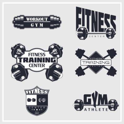 Plakát Fitness, gym, bodybuilding emblems