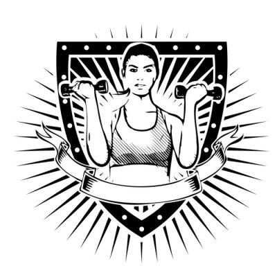 Plakát fitness woman shield
