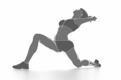 Plakát Fitness žena, rozkládající se na bílém - zahřát koncept