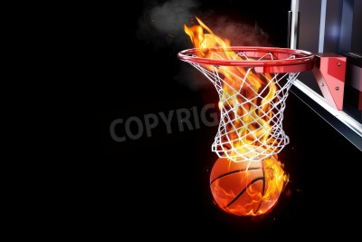 Plakát Flaming basketball going through a court net  Room for text or copy space on a black background