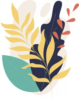 Plakát Flat modern floral foliage illustration on the white isolated background. Abstract shapes.