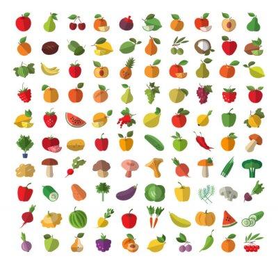 Plakát Food. Ovoce a zelenina. Sada barevných ikon