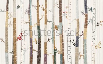 Plakát Forest tree pattern on decorative background wallpaper
