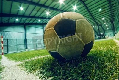Plakát fotbalový míč na zelené trávě v krytém hřišti