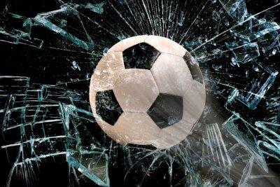 Plakát Fotbalový míč přes sklo.