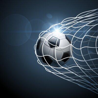 Plakát Fotbalový míč v cíli. Vektor