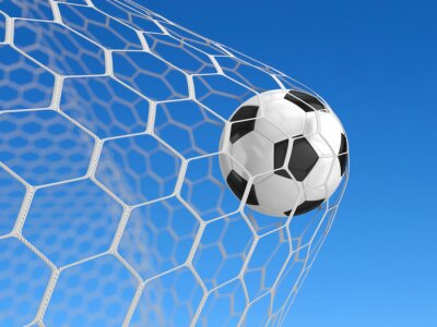 Plakát Fotbalový míč v síti