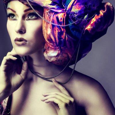 Plakát Fotografie krásná dívka v head-šaty z barevné tkaniny