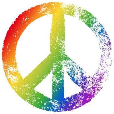 Plakát Friedenszeichen, Regenbogenfarben, Vektor, Grunge, freigestellt