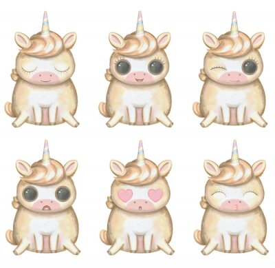 Plakát Funny kawaii cartoon cute unicorn with big eyes in six versions with different emotions isolated on white background. Watercolor hand drawn illustration