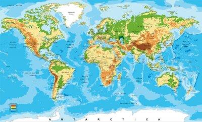 Plakát Fyzická mapa světa