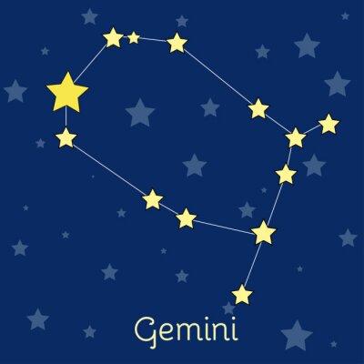 Plakát Gemini Air Zodiac souhvězdí s hvězdami ve vesmíru. vektorový obrázek