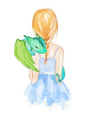 Plakát Girl holding little dragon. Hand drawn watercolor illustration