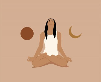 Plakát Girl or woman meditate in lotus asana or position with sun and moon on both sides. Meditation or inner balance concept. Trendy minimalistic pastel terracotta colored vector illustration.