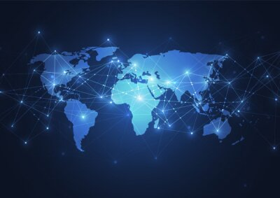 Plakát Global network connection. World map point and line composition concept of global business. Vector Illustration