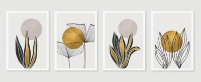 Plakát Gold Botanical wall art vector set. Earth tone boho foliage line art drawing with  abstract shape.  Abstract Plant Art design for print, cover, wallpaper, Minimal and  natural wall art.