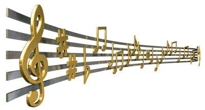 Plakát Gold Music Notes On vlnovek
