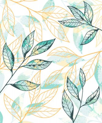 Plakát Golden and green leaves pattern. Hand drawn vector background