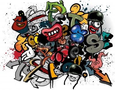 Plakát Graffiti elements explosion