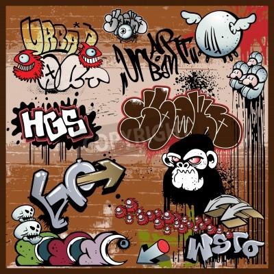 Plakát graffiti měst umění prvky
