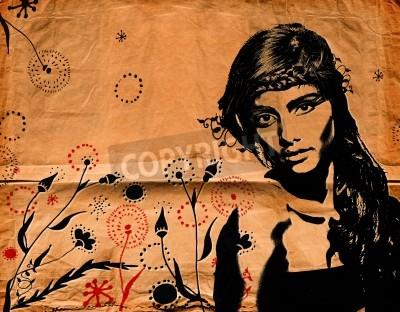 Plakát graffiti módní ilustrace krásná žena s dlouhými vlasy na papír textury s grunge efekt