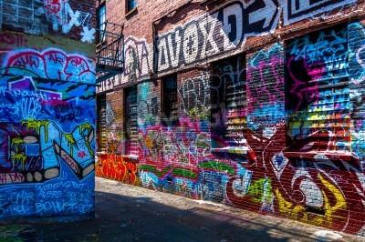 Plakát Graffiti na zdech v graffiti Alley, Baltimore, Maryland.