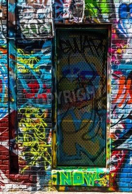 Plakát Graffiti na zdi a dveře v Graffiti Alley, Baltimore, Maryland.