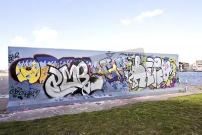 Plakát Graffiti stěna v Amsterdamu Nizozemsko