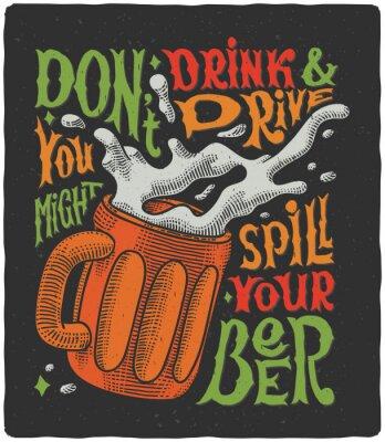 Plakát Grafický plakát s hrnkem rytím a zábavné textem