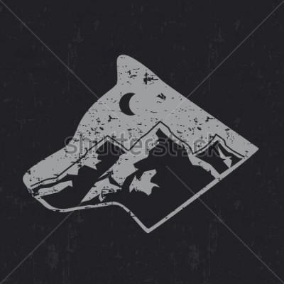 Plakát Gray wolf typography design, t-shirt graphics.