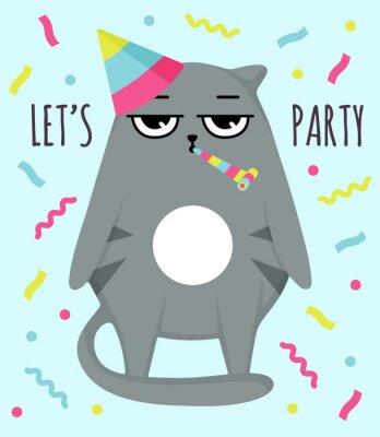 Plakát Grumpy cat invitation card. Let party. Cat in cap. Party atribution. congratulatory postcards
