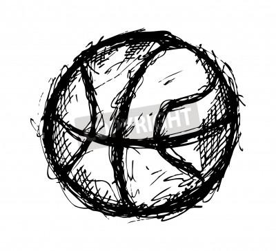 Plakát Grunge basketbal doodle