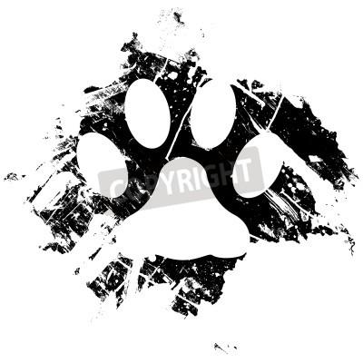 Plakát Grunge pet nebo kočičí tlapka tisku. Může být použit jako pozadí nebo jako menší konstrukční prvek.