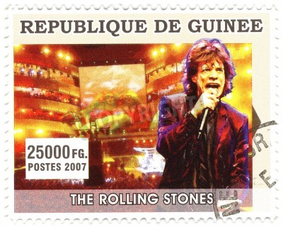 Plakát GUINEA - cca 2007 slavný rockový zpěvák Mick Jagger z hudební kapely Rolling Stones