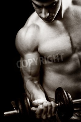 Plakát Gym and fitness concept - bodybuilder and dumbbell over black