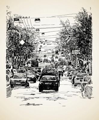 Plakát hand draw line art městské dopravy složení