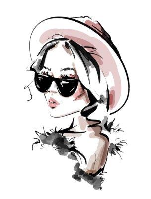 Plakát Hand drawn beautiful young woman in sunglasses. Stylish elegant girl. Fashion woman look. Sketch. Vector illustration.