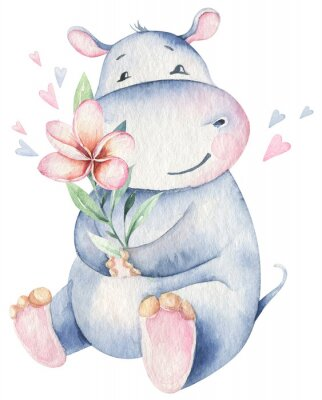 Plakát Hand drawn cute isolated tropical summer watercolor hippo animals. hippopotamus baby and mother cartoon animal illustrations, jungle tree, brazil trendy design. Aloha collection.
