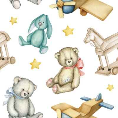 Plakát Hand drawn watercolor seamless pattern with old-fashioned toys. Teddy Bears. Bunny toy. Airplane. Rocking horse. Watercolor Illustration on white background.