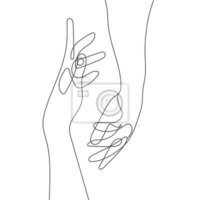 Plakát Hand Gesture Continuous Line Drawing. Couple Minimalist Contour Illustration. One Line Hands Concept. Vector EPS 10.