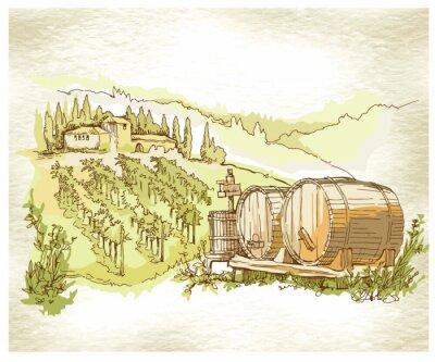 Plakát Hand made sketch grape fields and vineyards.