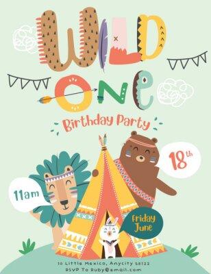 Plakát Happy birthday party invitation card with cartoon tribal animals. Vector illustration - Vector