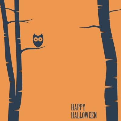 Plakát Happy halloween card with owl sitting on tree. Holiday postcard